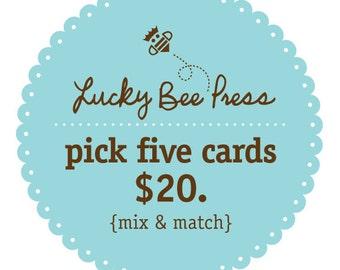 Letterpress - Pick Any Five Cards