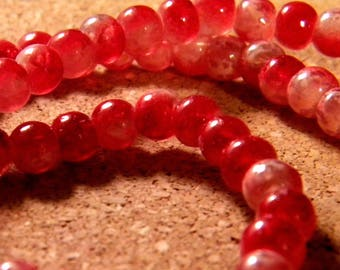 50 glass beads 8 mm speckled 2 translucent tones - red-PE190-4
