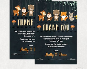 WOODLAND Thank You Card. Rustic Woodland  Baby Shower Printable Thank You Notes. Chalkboard. Forest Baby Shower Favors. Fox. Deer. WOOD2