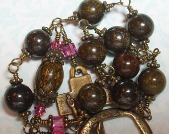 Irish Penal Pocket Rosary made of Bronzite Stones and Swarovski Crystals