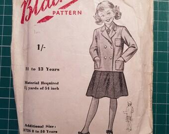 Vintage Sewing Pattern ~ Blackmore 3731 ~ Girls Jacket / Blazer ~ Size 11-13yrs