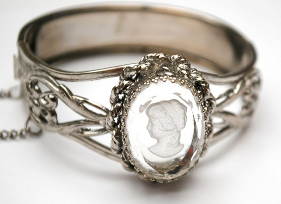 Intagio Cameo Bracelet - clear glass  silver filigree  Bangle - Victorian Revival - vintage  Hinged  bracelet - safety chain