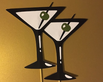 2 Martini glasses on a stick, Wedding photo props, photo booth props, 2 props