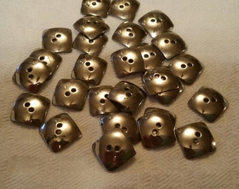 Lot of 28 Square Silver Buttons