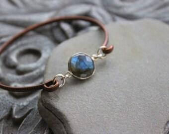 Labradorite  Stacking  Bangle bracelet, Copper stacking dainty bangle, metalwork, skinny bangle