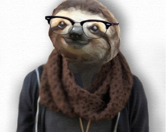 Hipster Sloth Portrait