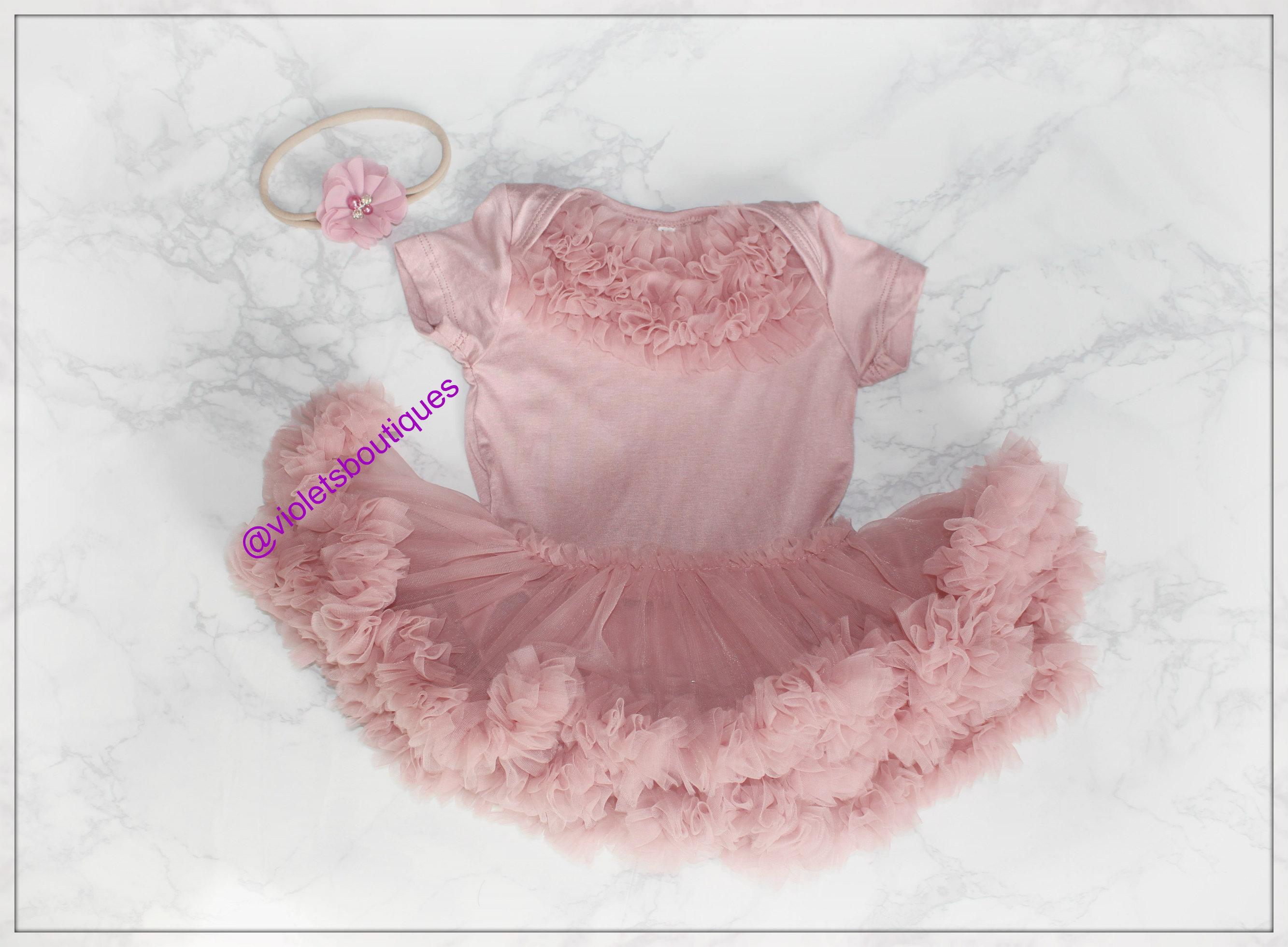 Dusty Pink baby dress tutu dress Birthday outfit take