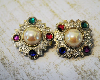 Vintage HAUTE Couture Pearl Centered Rhinestone Multicolored Stone Earrings