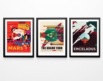 Space Wall Art Poster Set Space Posters Space Prints Nasa Posters Space Art Set Mars Poster Earth Poster Space Decor