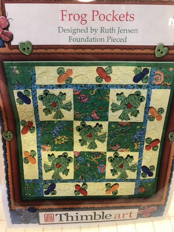 Frog Pockets Foundation Pieced Wall Hanging Quilt By Ruth Jensen