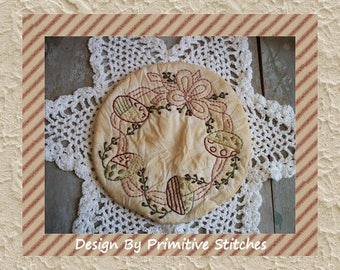 Eggtime Candle Mat-Primitive Stitchery E-PATTERN-Instant Download
