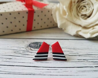 Geometric stud earrings red, Red stud earrings, Red black white studs, Trendy earrings, Modern earrings, Fashion earrings, Geometrical studs