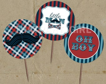 Little Man Birthday Party Favor Tags Cup Cake Toppers - DIY Digital U Print