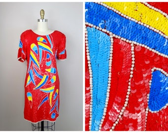 Vintage Trophy Sequin Dress // Fully Sequined Beaded Art Deco Dress L