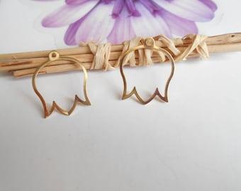 2 prints gold Tulip filigree 20 mm