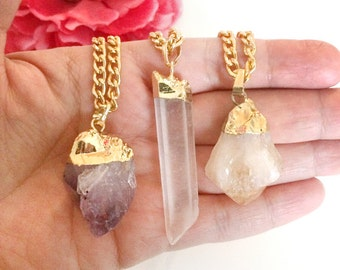 amethyst necklace - clear quartz pendant  -  brown quartz stone necklace - gold dipper jewelry - layering bohemian necklaces - gift for her