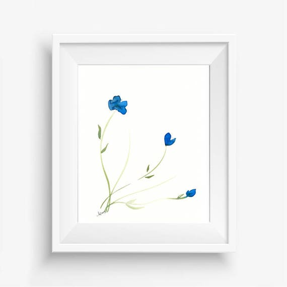 "Original floral watercolor painting: ""Azure Blooms"""
