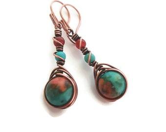 Copper jasper earrings, copper wire earrings, boho wire earrings, boho copper earrings, wire wrapped earring, blue orange earrings handmade