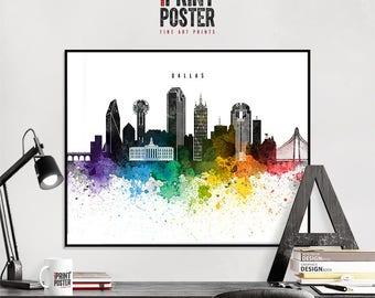 Dallas art print, Dallas poster, Dallas wall art, Dallas skyline watercolour print, travel poster, home decor, gift, iPrintPoster
