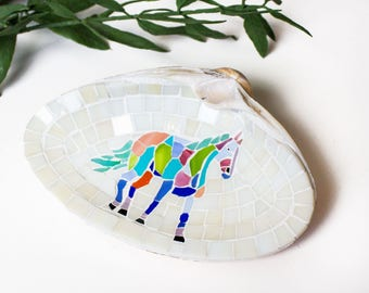 Horse Shell Ring Holder Dish in Mosaic Stained Glass Tiles