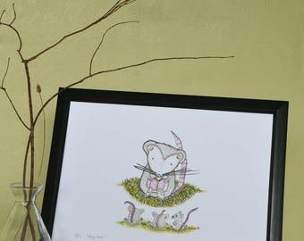 Story time // illustration art print // wall decor