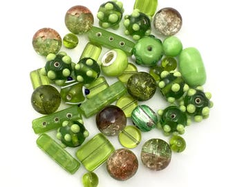 40 mixed glass beads green shades,8mm to 24mm  #PV117