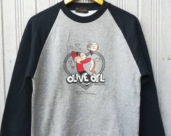 Vintage Gianni Valentino Italy  Popeye Olive Oyl Sweatshirt Jumper Sweater Size M