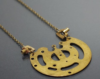 Steampunk Necklace- Brass Upcycled Clock Parts Steampunk Jewelry, Industrial Necklace, Statement Necklace, Contemporary Jewelry