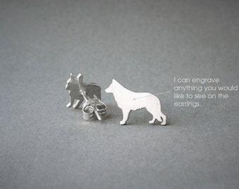 GERMAN SHEPHERD NAME Earrings - Dog Breed Earrings • German Shepherd • Name Earring • Custom Earring • Dog Gift • Dog Earring