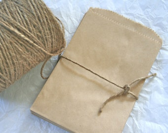 25 Solid 4X6  Kraft Paper Bags