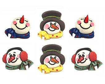 SET of 6 VERY detailed Winter Snowman 3D Shank Buttons