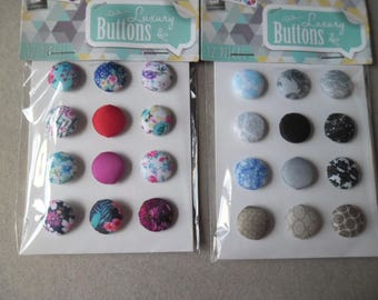 mixed 24 x 15 mm patterned fabric covered round buttons