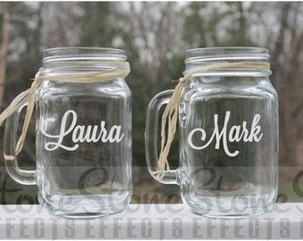 ersonalized mason jar, wedding jars, Etched mason jar mugs, Set of 2, 16oz - Etched Mugs, Mason Jar etched, Etched beer mugs,