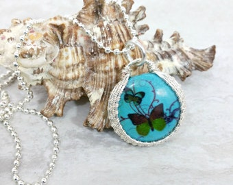 Butterfly Necklace Wire Wrapped Pendant Necklace Boho Necklace Gemstone Necklace Wire Wrapped Jewelry Gift for Her Womens Gift for Mom