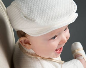 Ivory Newsboy Boys Cap, Quilted Baby Hat, Christening & Baptism