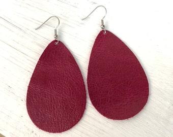 Leather Earrings, Trendy Earrings, Leather Teardrop Earrings, Leather Drop Earrings, Crimson Earrings, Genuine Leather, Strong Red Earrings