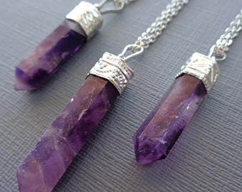 Amethyst Necklace /Natural Amethyst Silver Necklace / Amethyst Point Pendant / February Birthstone Necklace /Purple Stone Necklace Long