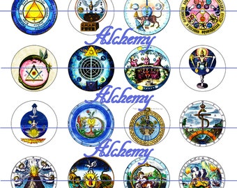 """Alchemy Magnets, Alchemy Pins, Alchemy Cabochons, Ancient Alchemy Magnets, 1"""" Inch Flat backs, Hollow or Cabochons, 12 ct,"""