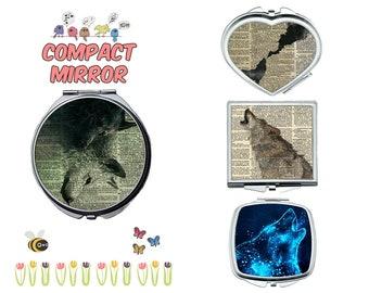 Wolf compact mirror, makeup mirror, cosmetic mirror, portable mirror, double sided compact makeup mirror, purse mirror