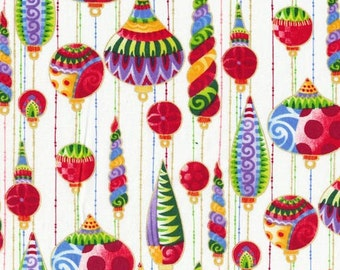 Seasons Greetings from Fabri-Quilt - Hanging Ornaments Christmas Fabric on White