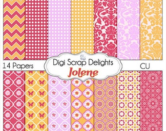 Digital Scrapbooking: Jolene Digital Scrapbook Paper (Orange, Pink, Chevron & Quatrefoil), Instand Download