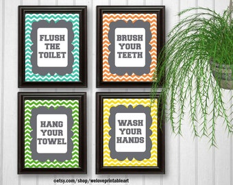Hang Your Towel, Wash Your Hands Sign, Flush the Toilet, Brush Your Teeth Sign, Chevron Bathroom Quotes Wall Art, Printable Decorations