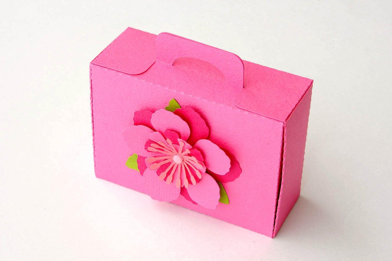 Set of 10 Mini Pink Flower Beach Suitcase Box / Luggage Box