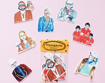 Tenenbaum Sticker Pack -Set of 7 - Vinyl Stickers -  Handmade Sticker - The Royal Tenenbaum Sticker- Wes Anderson