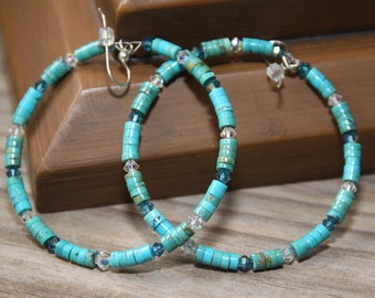 Dangle Hoops,   Turquoise stone heishi beads, Swarovski crystals, # 4