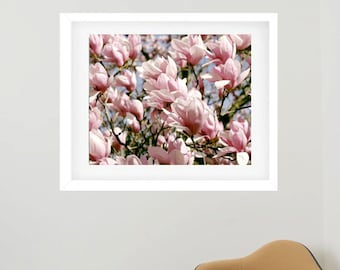Framed botanical print, framed photography, pink flower photography, framed wall art, floral print, magnolia wall art, oversized wall decor