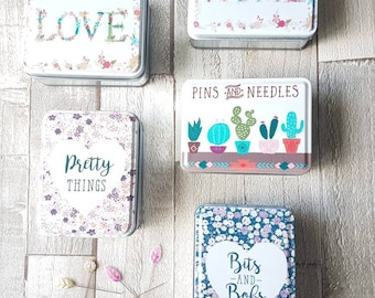 Tins, storage tins, pins and needles tin, craft storage, mothers day gift, jewellery box, desk tidy, bits and bobs tin, uk shop