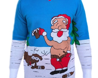 Tree Buddees Adult Funny Ugly Christmas Sweater knit Drunk Santa and Rudolph