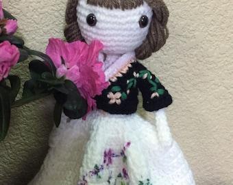 Pattern crochet amigurumi doll, cute pretty girl
