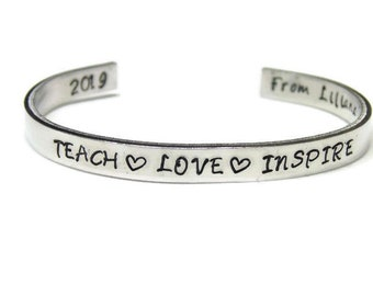Teach Love Inspire Bracelet; Personalized Teacher Gift; Custom Teacher Bracelet; Teach Inspire Love Cuff Bracelet; Teacher Appreciation Gift